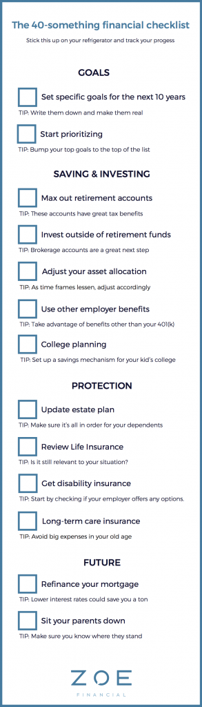 40-something financial checklist - Zoe personal finance blog - Zoe resource center - Zoe Financial