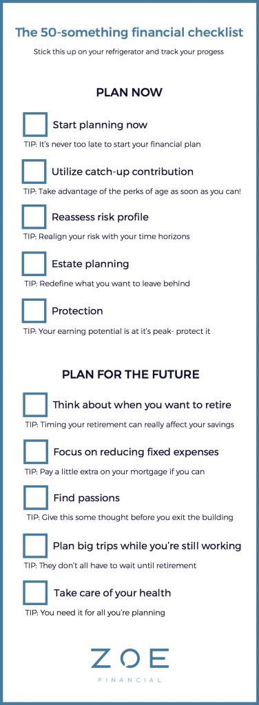 50-something financial checklist - Zoe personal finance blog - Zoe resource center - Zoe Financial