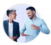 Two financial advisors talking